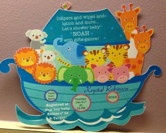 noah 39 s ark baby shower invitations minimum order of 5 invitations
