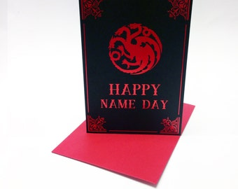 Game of Thrones inspired birthday card, with House Targaryen three headed dragon sigil, GRR Martin, A Song of Ice and Fire Name Day. Size A6