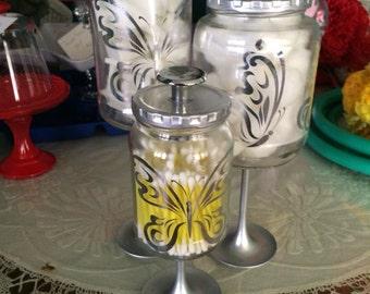 Silver Butterflies Bathroom Apothecary Jars
