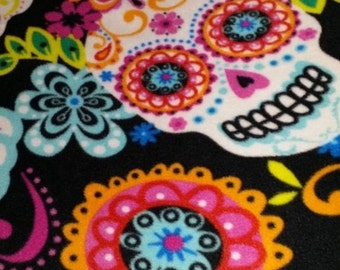 Sugar Skulls Dia De Los Muertos Latin Culture Day of The Dead Calaveras Fleece Blanket, Comforter, Quilt, Bedspread, Scarf, Infinity Scarf