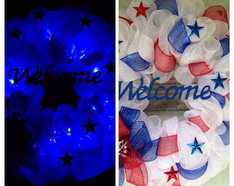 Light Up Patriotic 4th of July Deco Mesh Ribbon Door Wreath