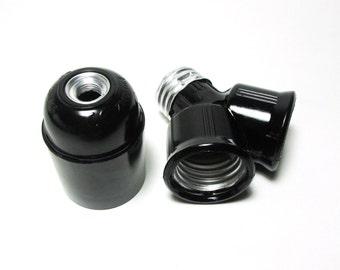 Double-head Light Socket Set - Black color - light bulb - DIY lighting - ceiling lamp - pendant lamp - hanging lamp - industrial lighting