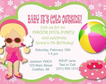 Winter Pool Party Birthday Invitation, Indoor Pool Party Invitation, Kids Party Printables
