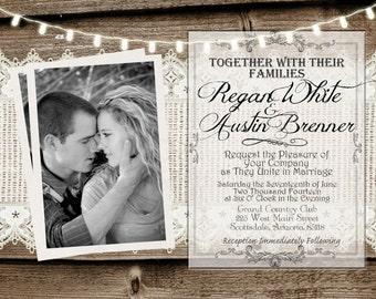 Rustic and Lace Wedding Invitation, Lights, Wood Fence, Photo Invitation, Digital File, Printable, 5x7