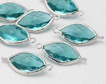 Blue Zircon Glass Connector, Pendant Polished Rhodium-Plated - 2 Pieces <G0015-PRBZ>