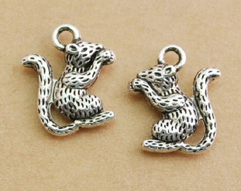 """30 Squirrel tibetan silver charms, nuts, forest squirrel, tree, gather nuts,.1/2"""" x 3/4""""U.S. Shipper Quick"""