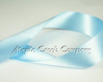 "5 yards of Light Blue Double Face Satin Ribbon, 5 Widths Available: 1-1/2"", 7/8"", 5/8"", 3/8"", 1/4"""