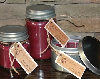 BLACK CHERRY Maple Creek Candles ~ Very Strong Scent Throw ~ Soy Wax Blend, 3 sizes, Fun Rustic Lid