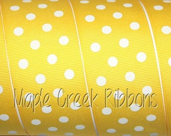 "1-1/2"" Daffofil Yellow with White Polka Dot Grosgrain Ribbon 1-1/2"" x 1 yard"