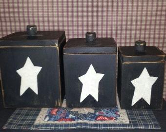 Primitive Kitchen Canister Set Handmade Wood Black Distressed Rustic 3 Pc