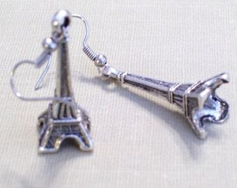 Antiqued Silver Eiffel Tower Earrings, French Landmark, 3D Monument, Pierced Earrings