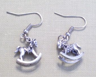 Antiqued Silver Rocking Horse Earrings, Whimsical 3D Animal Jewelry