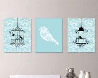 Shabby Chic Nursery Art Print. Girl Nursery Art. Girl Nursery Decor. Girl Bedroom Art. Birdcage Art. Bird Art. Wall Art. Home Decor. NS-199