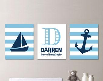 Baby Boy Nursery Art - Nautical Nursery Decor - Nautical Nursery Print -Nautical Nursery Art - Navy Light Blue - You Pick the Size (NS-577)