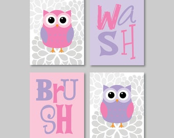 Child Bathroom Art - Child Bathroom Decor - Owl Bathroom Art. Owl Bathroom Decor. Bathroom Rules. Owl Decor. Owl Art. Owl Artwork. (NS-588)