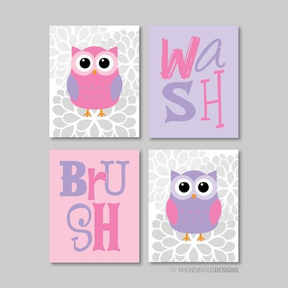 Bathroom Decor Owls: Child Bathroom Art Child Bathroom Decor Owl Bathroom Art