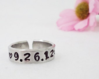 Custom Ring - Personalized Ring - Date Ring - Handstamped Ring - Aluminum Ring - Adjustable Ring - Silver Ring - Custom Date Ring