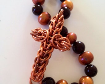 Chainmaille Cross Bracelet in copper with blood red beads & copper pearls