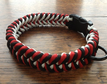Paracord Dog Collar-Red/Black/White