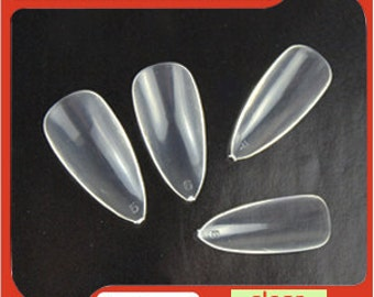 25 sets of Clear Stiletto Nails, 600 blank pointy nails, Pointy nails, Fake nails, False nails