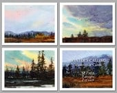 Winter's Calling - Set of 6 NOTE CARDS - Watercolor Paintings by Linda Henry (NCWC015)