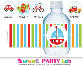 Transportation Printable Water Labels, Instant download  D075