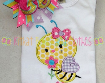 Busy Bumblebee and Flower Applique Shirt and Matching Hairbow - Girl - Bumblebee - Flower - Happy