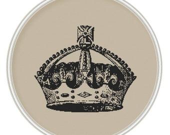 Сross stitch pattern PDF / JPEG, vintage crown cross stitch pattern, Instant Download, Free shipping