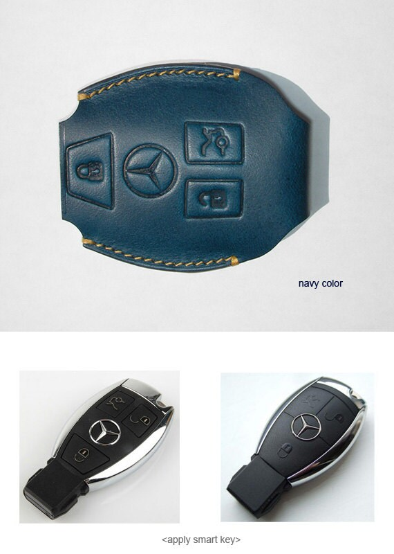 Handmade for Mercedes Benz S,E,C 63AMG 3buttons leather smart key case  chain holder cover