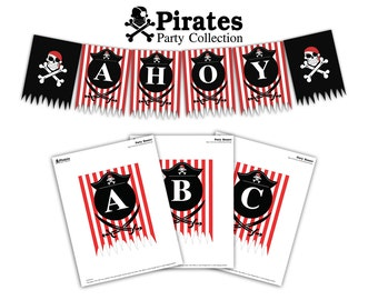 Pirates Party Banner Printable (A-Z Letters Included) - Instant Download