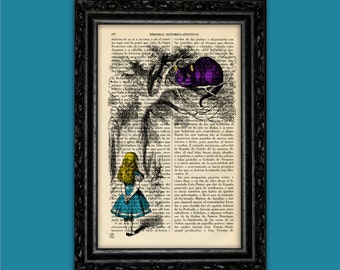 Cheshire Cat and Alice Book Art Print Alice in Wonderland Upcycled Poster Book Art Dorm Room Gift Print Wall Decor Poster Dictionary (Nº17)