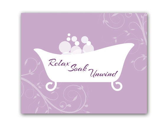 Bathroom wall art purple bathroom decor relax soak unwind for Bathroom decor purple
