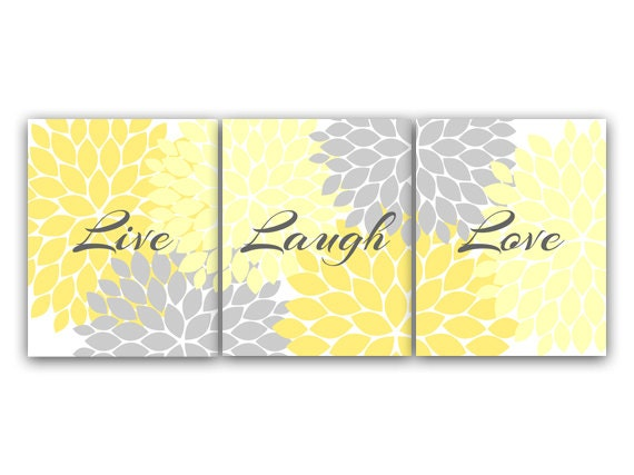 CANVAS and PRINTS Home Decor Wall Art Live Laugh Love Yellow