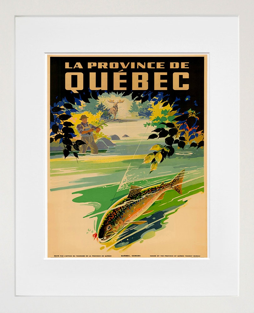 Quebec Travel Art Fishing Canada Poster Print Home Decor
