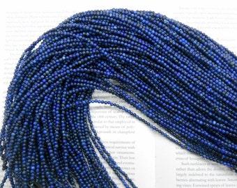 "3mm natural Lapis Lazuli round beads, 15.5"" strand long"