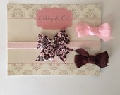 Girls Headband Set, Pink and Brown Headband Set, Headband and Clips, Infant Headband, Headband, Hair Accessory, baby bows, soft headband