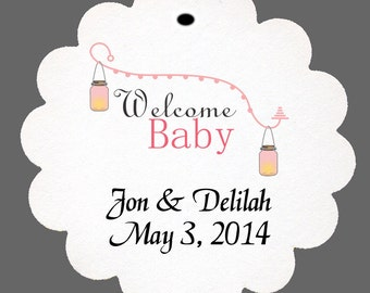 24 Personalized Welcome Baby Girl Baby Shower Scalloped Tags Party Favors