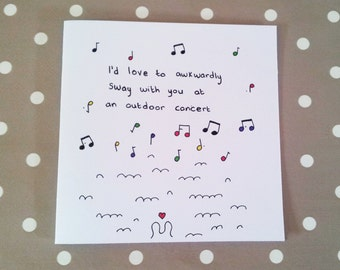 Quirky illustrated blank greeting card - Perfect for Lovers!