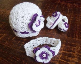 New Handmade Crochet Baby Girl Hat, Headband and Booties (0-3 months)