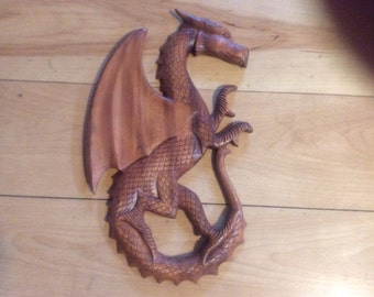 Celtic wood carved dragons