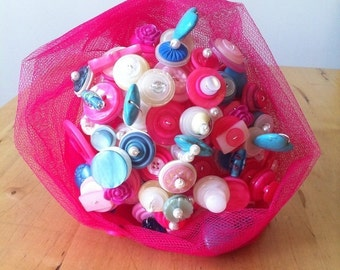Button  Bouquet - Cerise and Turquoise