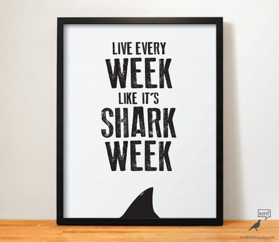 Items similar to shark week office decor shark print for Inspirational items for office