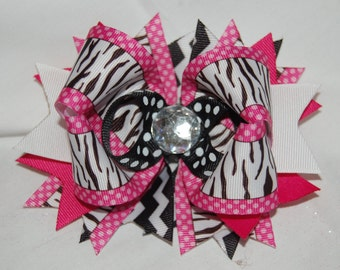 OTT Over The Top Zebra and Hot Pink Hair boutique bow with jeweled center