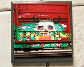Train art coaster: Love Skull - Train Graffiti. Individually photographed and hand made by Frank Heflin