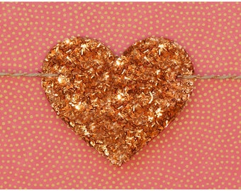 Copper glitter hearts garland strung on metallic copper & natural colored hemp twine READY TO SHIP
