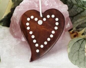 heart shaped walnut wood pendant, inlaid silver decoration,silver hanger,4x3x0.4 cm. (1 9/16 x 1 3/16 x 3/16 in.)