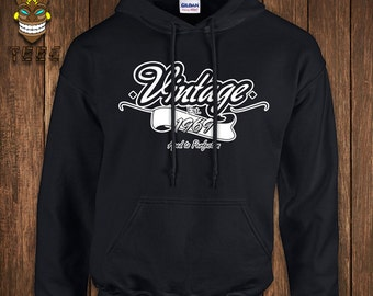 Vintage 1969 (Or Custom Year) Hoodie Aged To Perfection Hooded Sweater 45th Birthday Sweatshirt 45 Forty-five Years Old Funny Gift Present