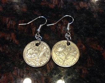 Bermuda 10 cents coin earrings