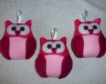 Set of 3 felt pink owls 13 cm