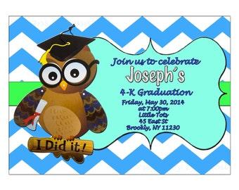 Preschool Graduation Invitation, Pre-K , Kindergarten, chevron invitation - DIY Printable, digital file